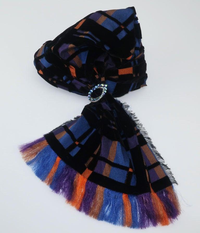 Suzy Lee Turban Style Cut Velvet Plaid Hat For Sale 2