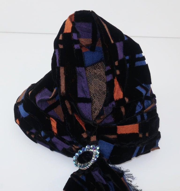 Suzy Lee Turban Style Cut Velvet Plaid Hat For Sale 3