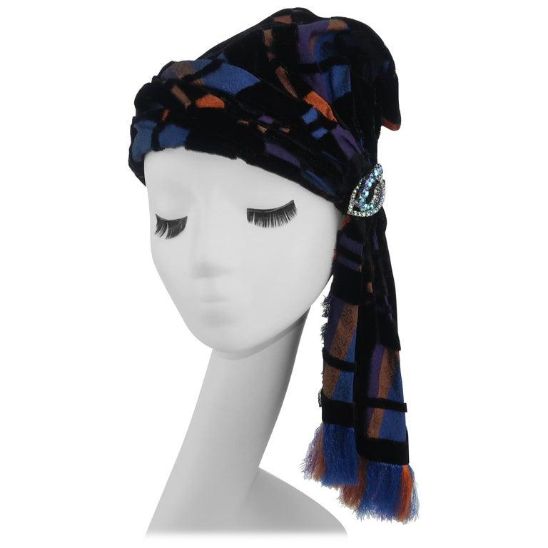 Suzy Lee Turban Style Cut Velvet Plaid Hat For Sale