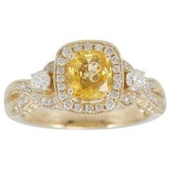 Suzy Lev 14 Karat Yellow Gold Cushion-Cut Yellow Sapphire and Diamond Ring