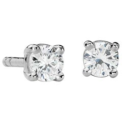 Suzy Levian 14 Karat Gold Classic Four-Prong 0.50 Carat Diamond Stud Earrings