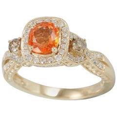 Suzy Levian 14 Karat Gold Cushion-Cut Orange Sapphire and Brown Diamond Ring