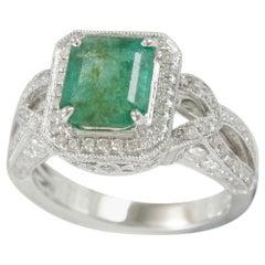 Suzy Levian 14 Karat Gold Emerald Colombian Green Diamond Ring