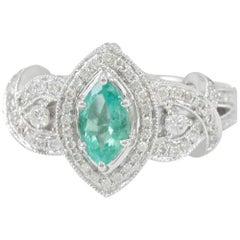 Suzy Levian 14 Karat Gold Marquise Cut Colombian Green Emerald and Diamond Ring