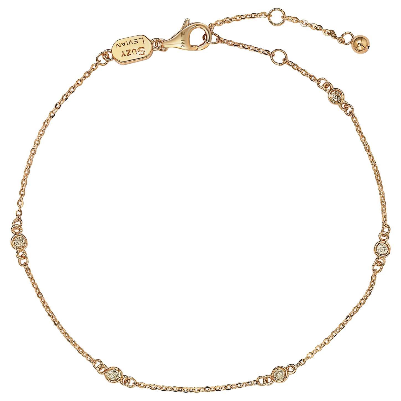Suzy Levian 14 Karat Rose Gold 0.15 Carat Diamond Station Bracelet
