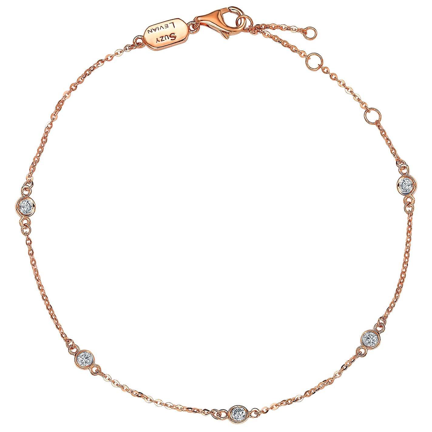 Suzy Levian 14 Karat Rose Gold 0.25 Carat Diamond Station Bracelet