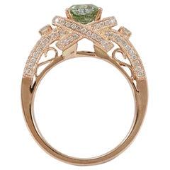 Suzy Levian 14 Karat Rose Gold Asscher-Cut Mint Green and White Diamond Ring