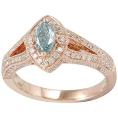 Suzy Levian 14 Karat Rose Gold, Blue and White Diamond Marquise Ring