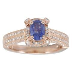 Suzy Levian 14 Karat Rose Gold Ceylon Sapphire and White Diamonds Ring