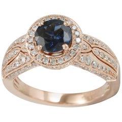 Suzy Levian 14 Karat Rose Gold Kancha Sapphire with White Diamond Ring