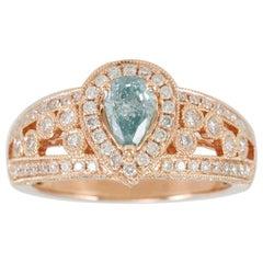 Suzy Levian 14 Karat Rose Gold Light Blue Pear-Cut Diamond Ring
