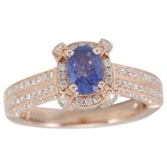 Suzy Levian 14 Karat Rose Gold Oval-Cut Ceylon Sapphire and Diamond Ring