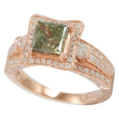 Suzy Levian 14 Karat Rose Gold Princess Cut Green and White Diamond Bridal Ring