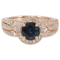Suzy Levian 14 Karat Rose Gold Round Kancha Sapphire and Diamond Ring