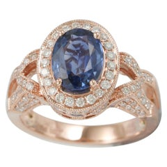 Suzy Levian 14 Karat Rose Gold White Diamonds Blue Ceylon Sapphire Ring