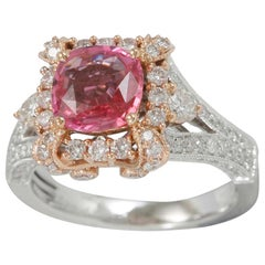 Suzy Levian 14 Karat Two-Tone Gold 3.11 Carat Pink Ceylon Sapphire Diamond Ring
