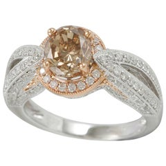 Suzy Levian 14 Karat Two-Tone Gold and Brown Diamond Ring