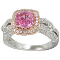 Suzy Levian 14 Karat Two-Tone Gold Pink Ceylon Sapphire and Diamond Ring