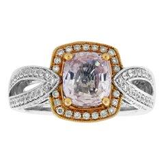 Suzy Levian 14 Karat Two-Tone Gold White Diamond and Cushion-Cut Morganite Ring