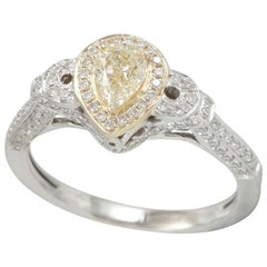 Suzy Levian 14 Karat Two-Tone Gold Yellow Diamond Pear-Cut Engagement Ring