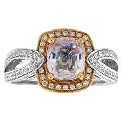 Suzy Levian 14 Karat Two-Tone White and Rose Gold Cushion-Cut Morganite Ring