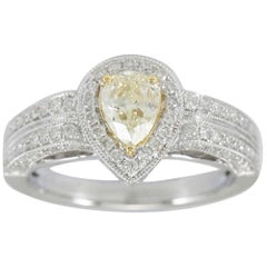 Suzy Levian 14 Karat Two-Tone White and Yellow Gold Pear-Cut Yellow Diamond Ring