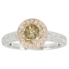 Suzy Levian 14 Karat Two-Tone White or Rose Gold and Brown Diamond Halo Ring