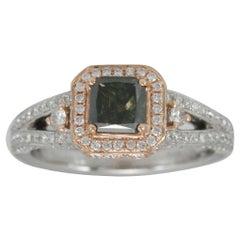 Suzy Levian 14 Karat White and Rose Gold Asscher-Cut Green/White Diamond Ring