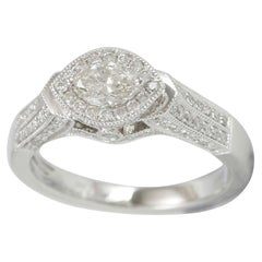 Suzy Levian 14 Karat White Gold and Marquise Diamond Ring