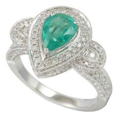Suzy Levian 14 Karat White Gold Colombian Emerald 2.06 Carat TDW Diamond Ring
