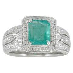Suzy Levian 14 Karat White Gold Colombian Emerald Diamond Ring 'SI1-SI2, G-H'