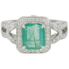 Suzy Levian 14 Karat White Gold Colombian Emerald Ring