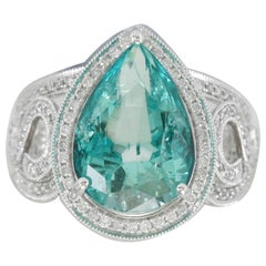 Suzy Levian 14 Karat White Gold Colombian Pear-Cut Emerald Ring