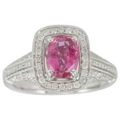 Suzy Levian 14 Karat White Gold Cushion-Cut Ceylon Pink Sapphire Diamond Ring