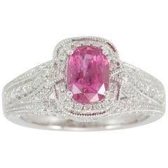 Suzy Levian 14 Karat White Gold Cushion-Cut Pink Sapphire and Diamond Ring