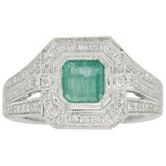 Suzy Levian 14 Karat White Gold Emerald Cut Colombian Emerald and Diamond Ring