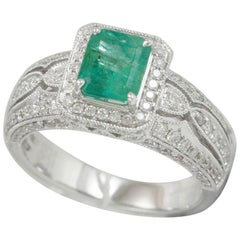 Suzy Levian 14 Karat White Gold Emerald-Cut Colombian Emerald and Diamond Ring