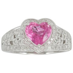 Suzy Levian 14 Karat White Gold Heart-Cut Ceylon Pink Sapphire and Diamond Ring