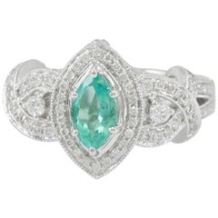 Suzy Levian 14 Karat White Gold Marquise-Cut Colombian Emerald Ring