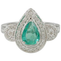 Suzy Levian 14 Karat White Gold Pear-Cut Colombian Emerald Ring