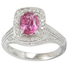 Suzy Levian 14 Karat White Gold Pink Cushion Cut Sapphire White Diamonds Ring