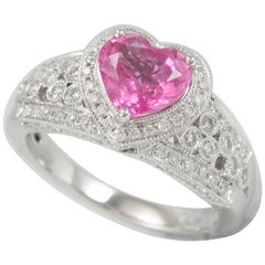 Suzy Levian 14 Karat White Gold Pink Heart Ceylon Sapphire and Diamond Ring