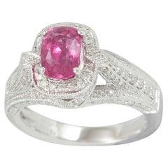 Suzy Levian 14 Karat White Gold Pink Sapphire and Diamond Ring