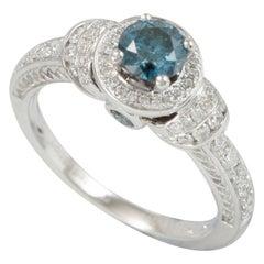 Suzy Levian 14 Karat White Gold Round Blue Diamond Halo Engagement Ring
