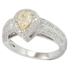 Suzy Levian 14 Karat White Gold Yellow Pear-Cut Diamond Bridal Ring
