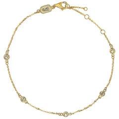 Suzy Levian 14 Karat Yellow Gold 0.15 Carat Diamond Station Bracelet