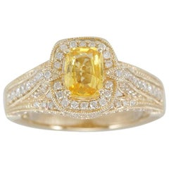 Suzy Levian 14 Karat Yellow Gold Cushion-Cut Yellow Sapphire and Diamond Ring