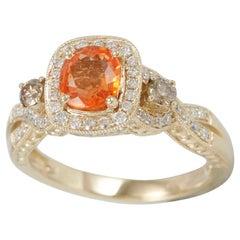 Suzy Levian 14 Karat Yellow Gold Natural Orange Sapphire and Diamond Ring