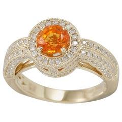 Suzy Levian 14 Karat Yellow Gold Orange Sapphire and Diamond Ring