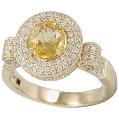 Suzy Levian 14 Karat Yellow Gold Round Yellow Sapphire and Diamond Ring